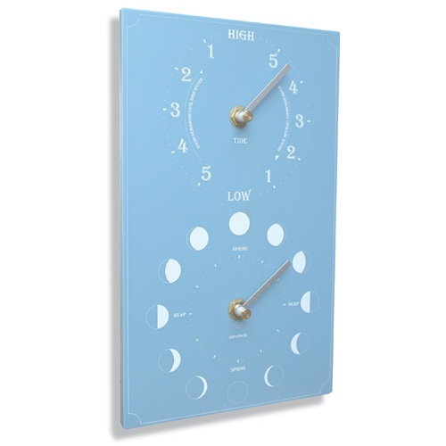 Ashortwalk Recycled Moon and Tide Clock (Blue)