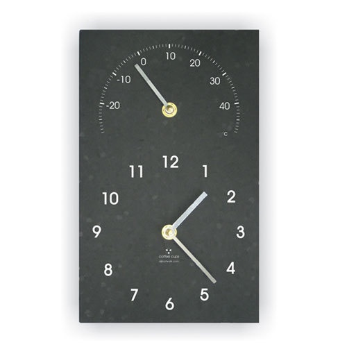 Ashortwalk Recycled Classic Clock w/Temp (Black)